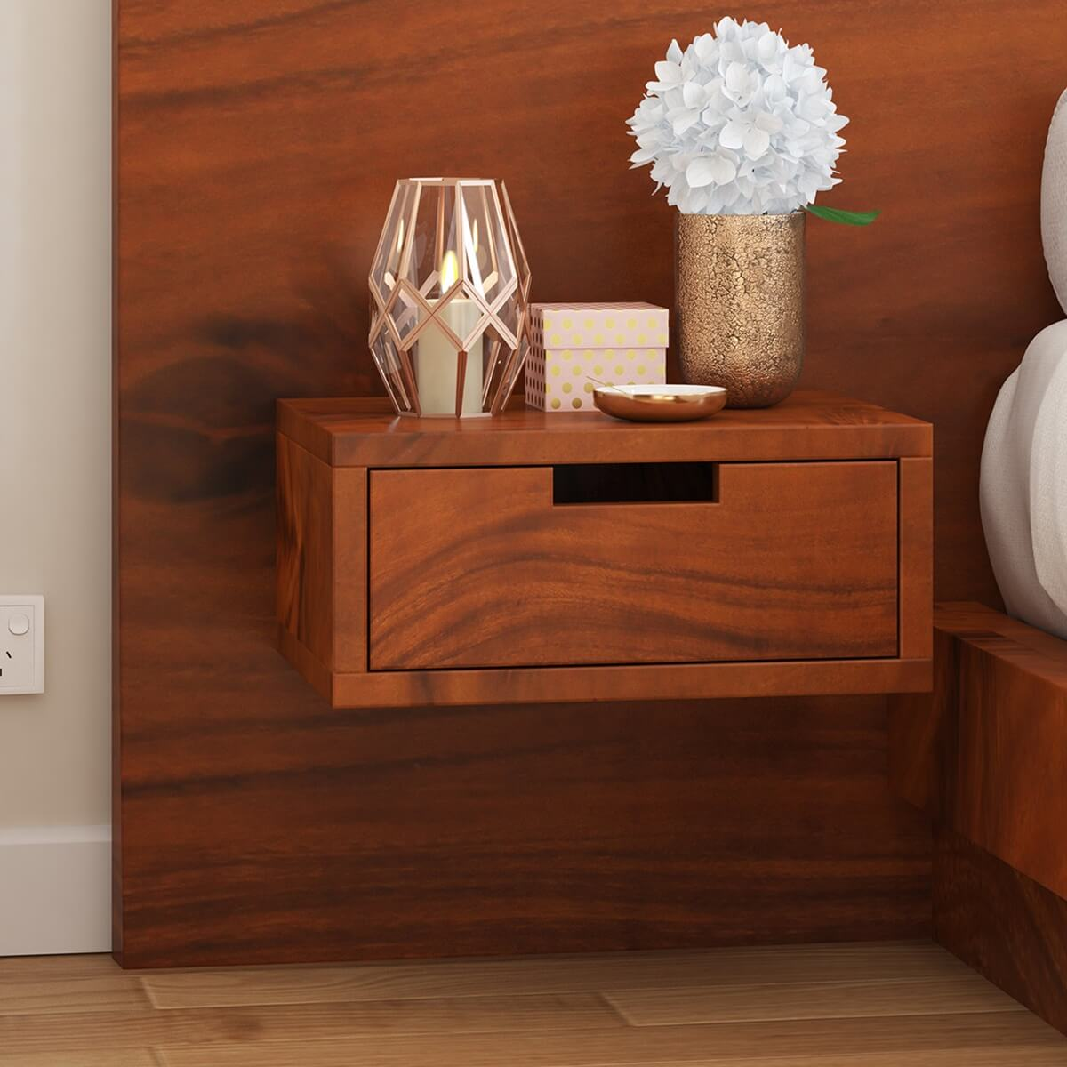 Batesville Suar Wood Floating Nightstand With Single Drawer
