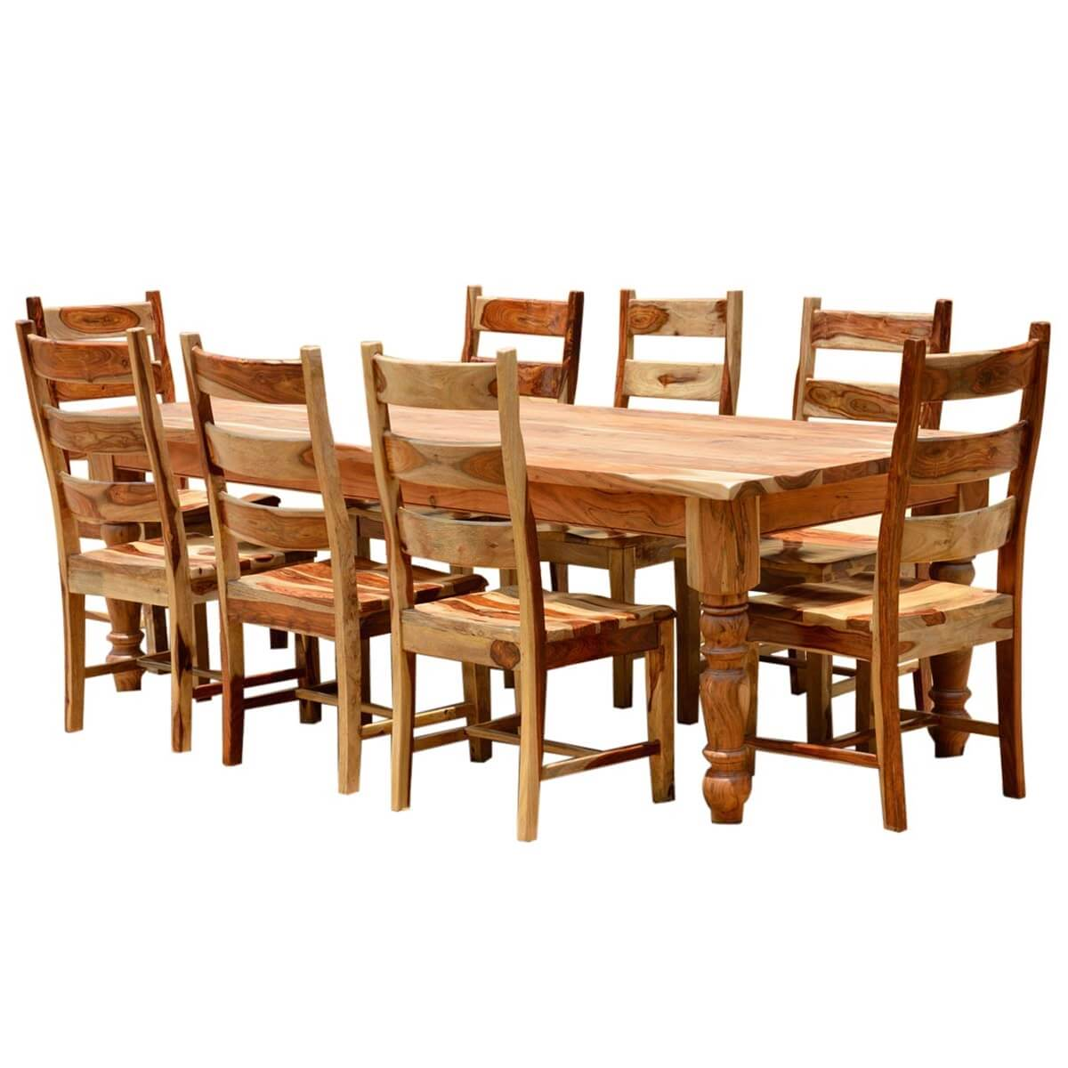 Unfinished Dining Room Chairs Rustic Solid Wood Farmhouse Dining Room Table Chair Set