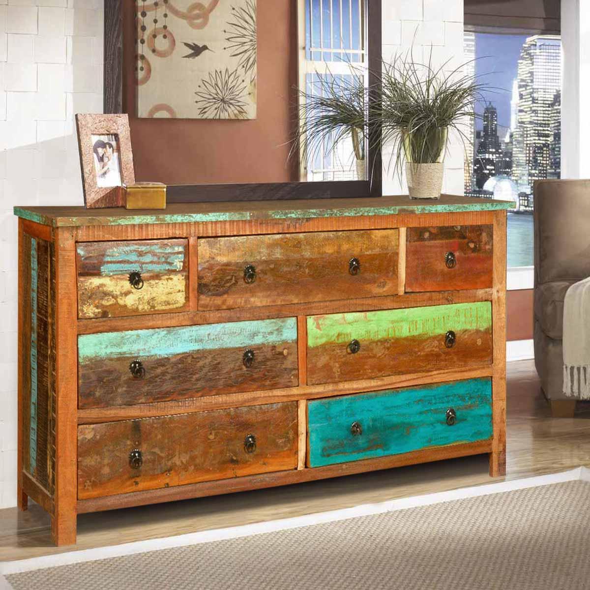 sierra rustic reclaimed wood large bedroom dresser with 7 drawers