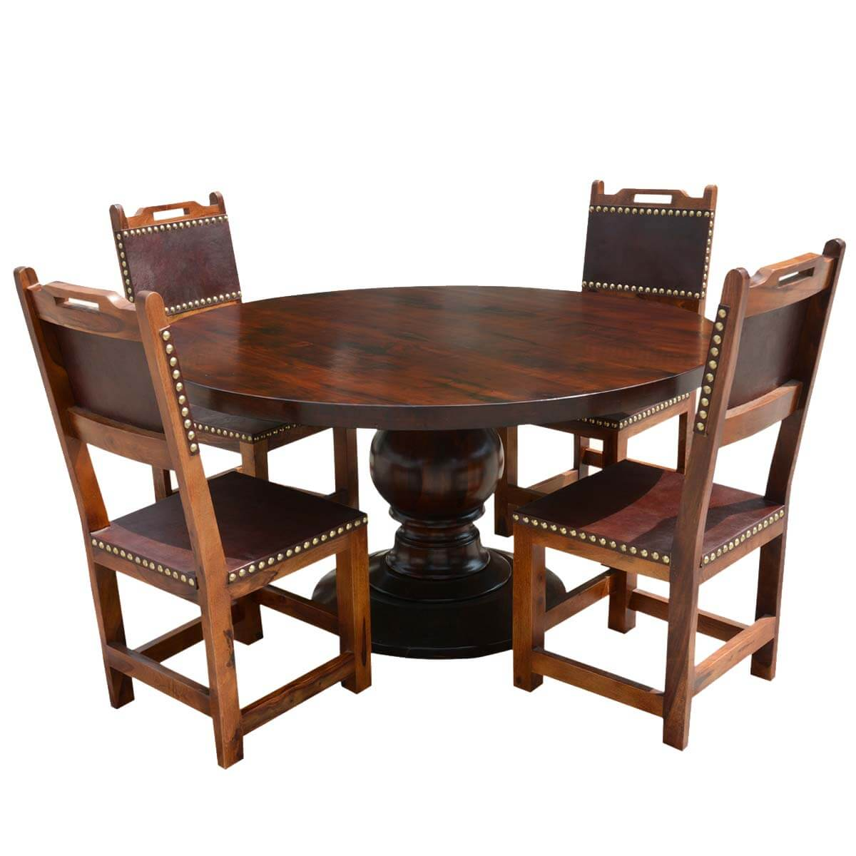 Hover Round Chairs Santa Ana Round Kitchen Dining Table Set With Leather Back Chairs