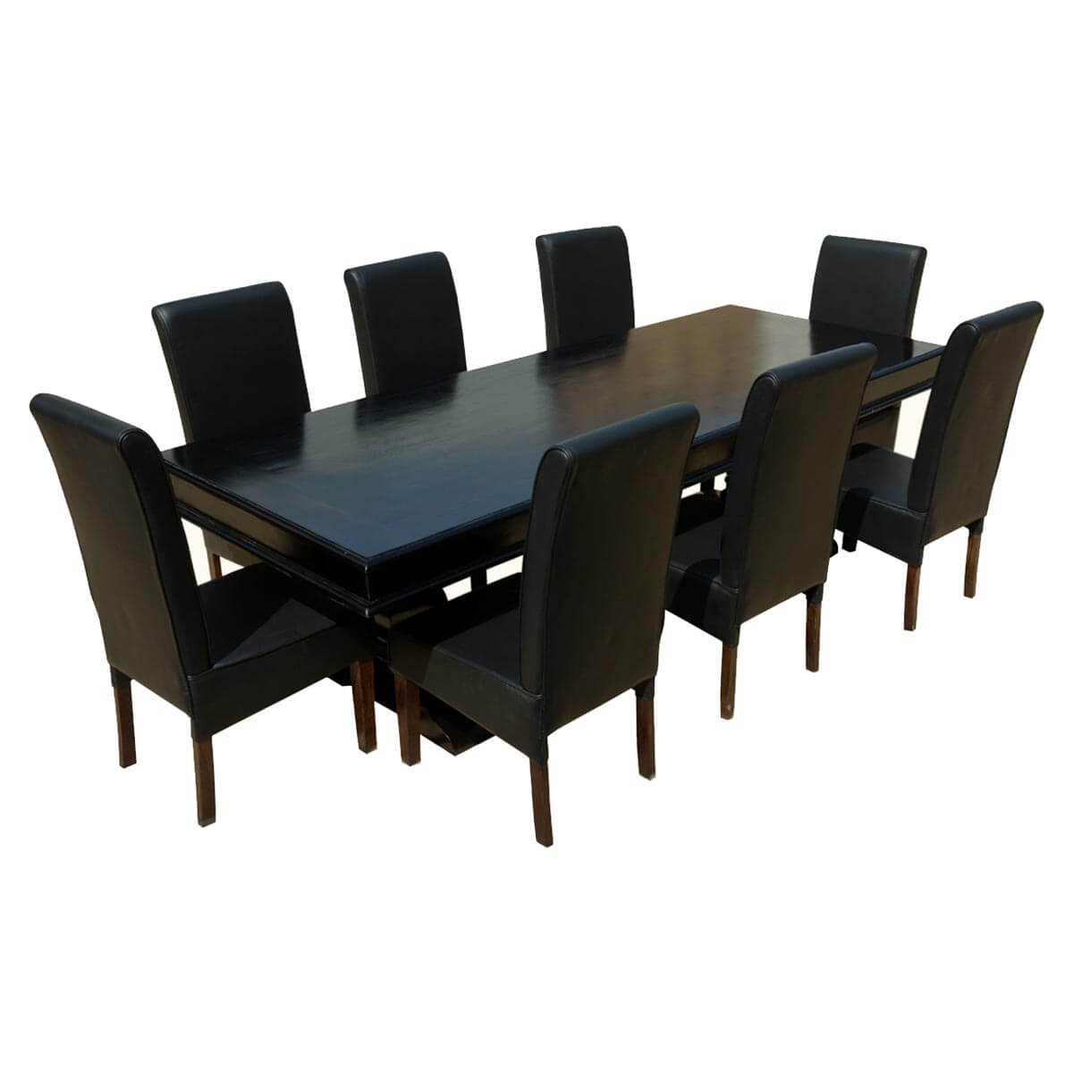Dining Table 8 Chairs Executive Elegance Wood Leather 94