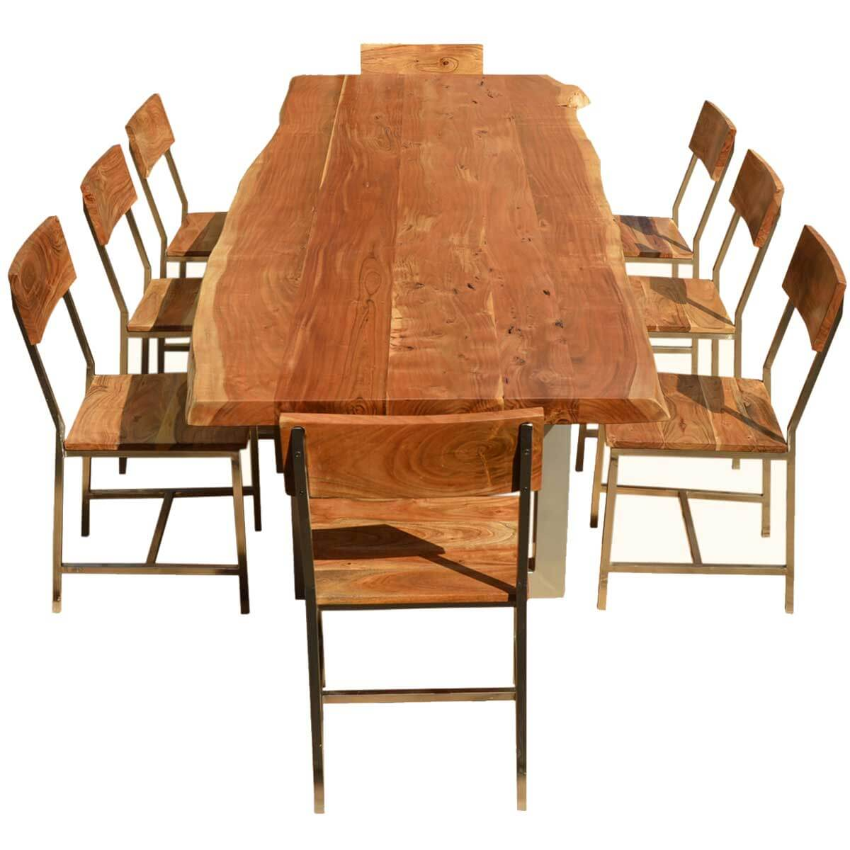 Dining Table 8 Chairs Live Edge Acacia Wood Iron 106