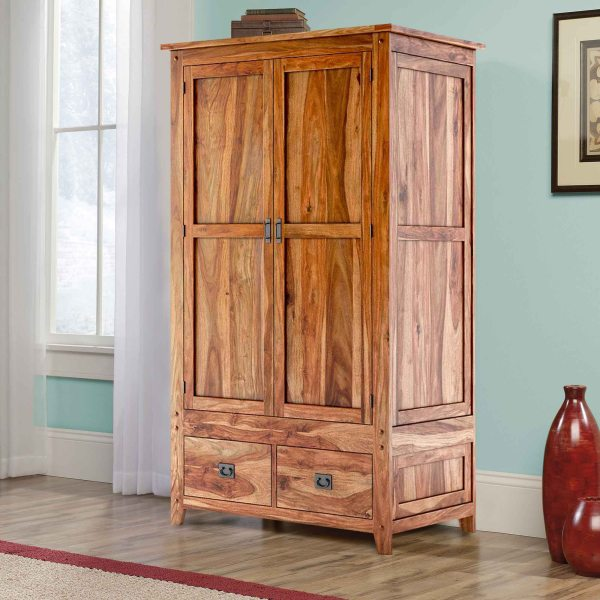 Delaware Rustic Solid Wood Bedroom Wardrobe Armoire With