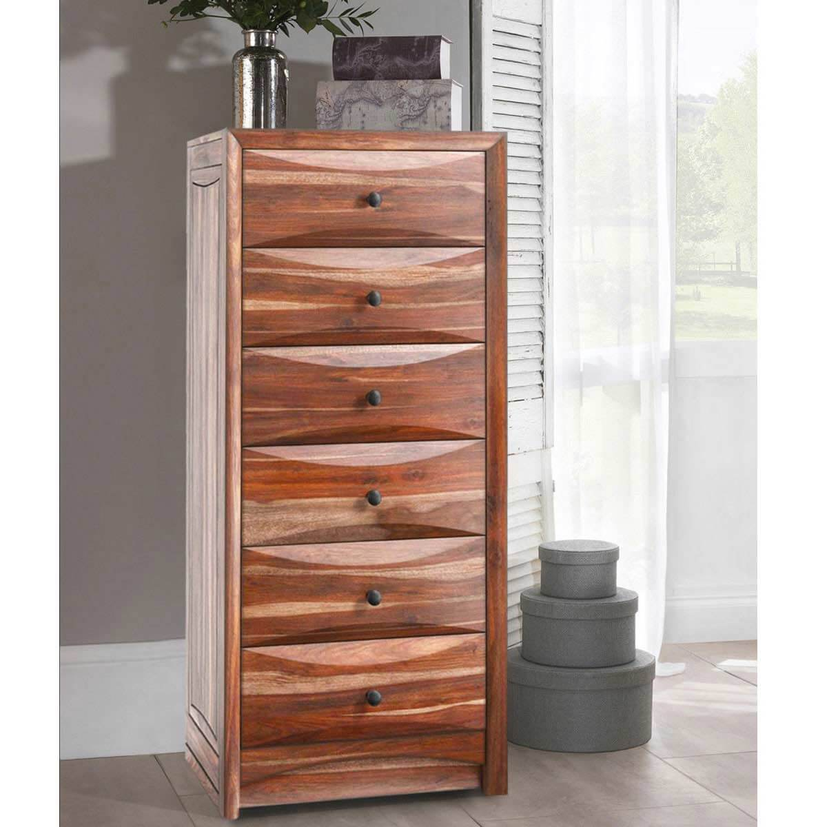 modern pioneer rustic solid wood 6 drawer bedroom tall dresser chest