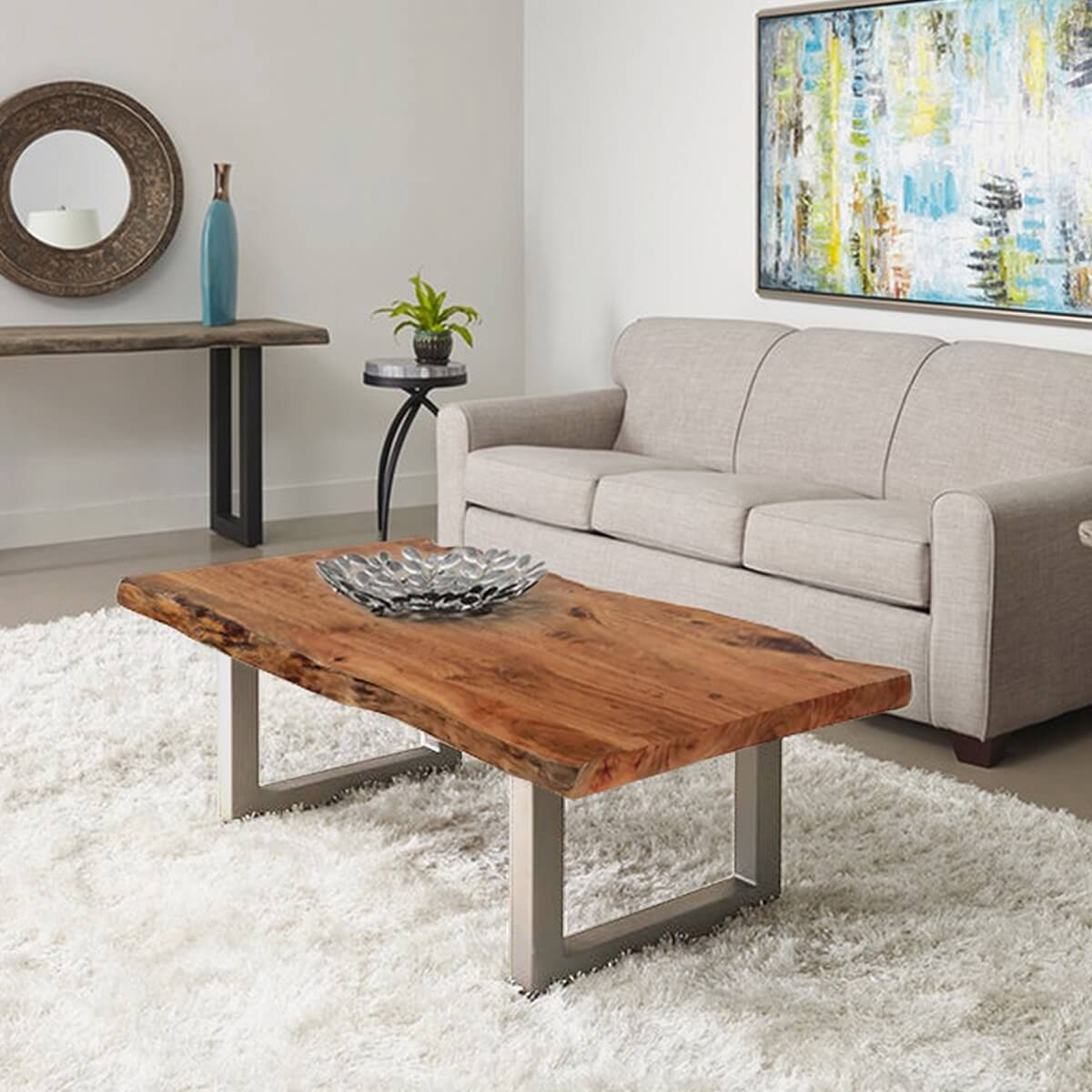 Natural Acacia Wood Steel Rustic Live Edge Coffee Table