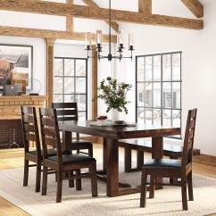 Dining Table And Chair Sets Lowes Shower Galveston Rustic Solid Wood 6 Piece Set With Bench Hover To Zoom