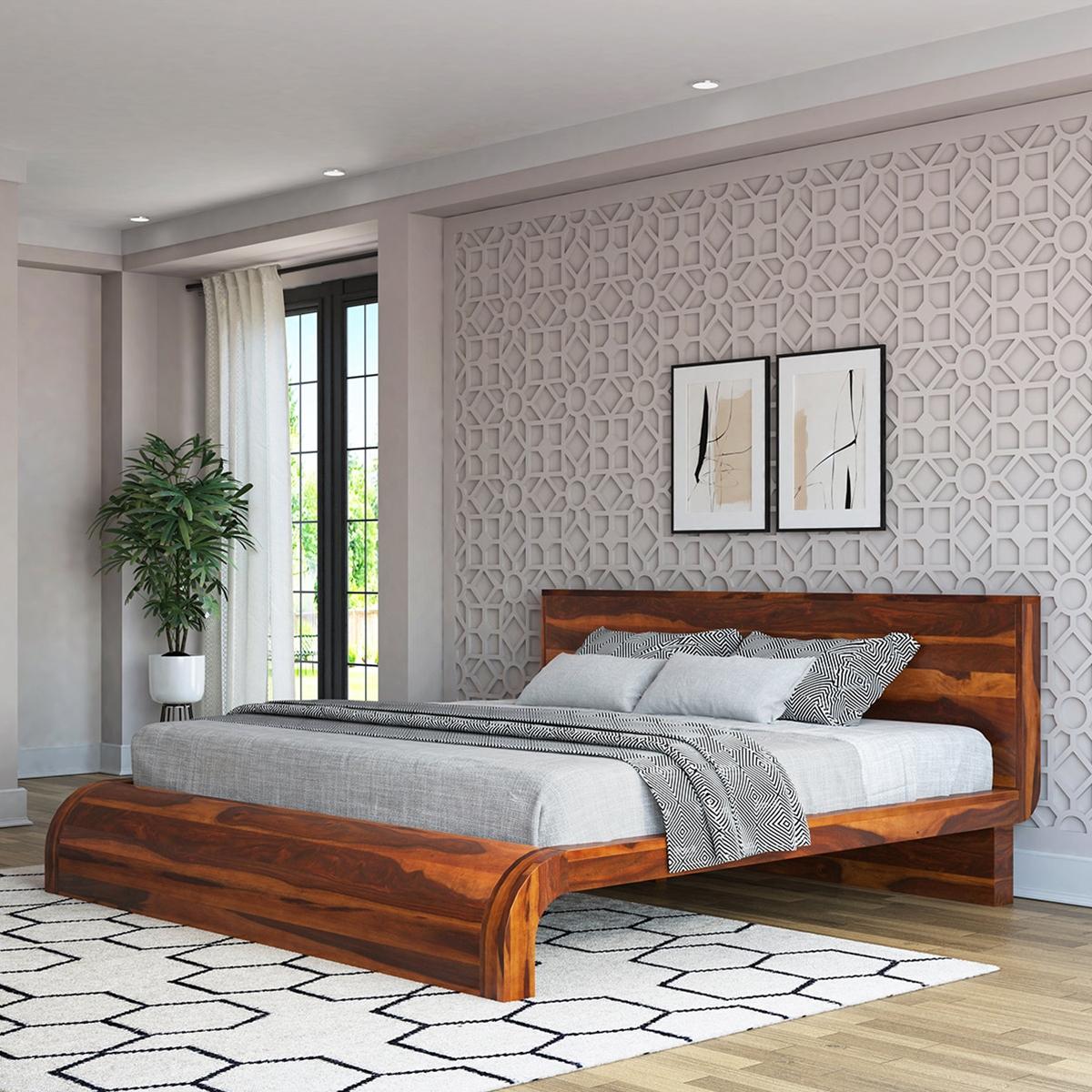 Rebecca Solid Wood Curved Platform Bed