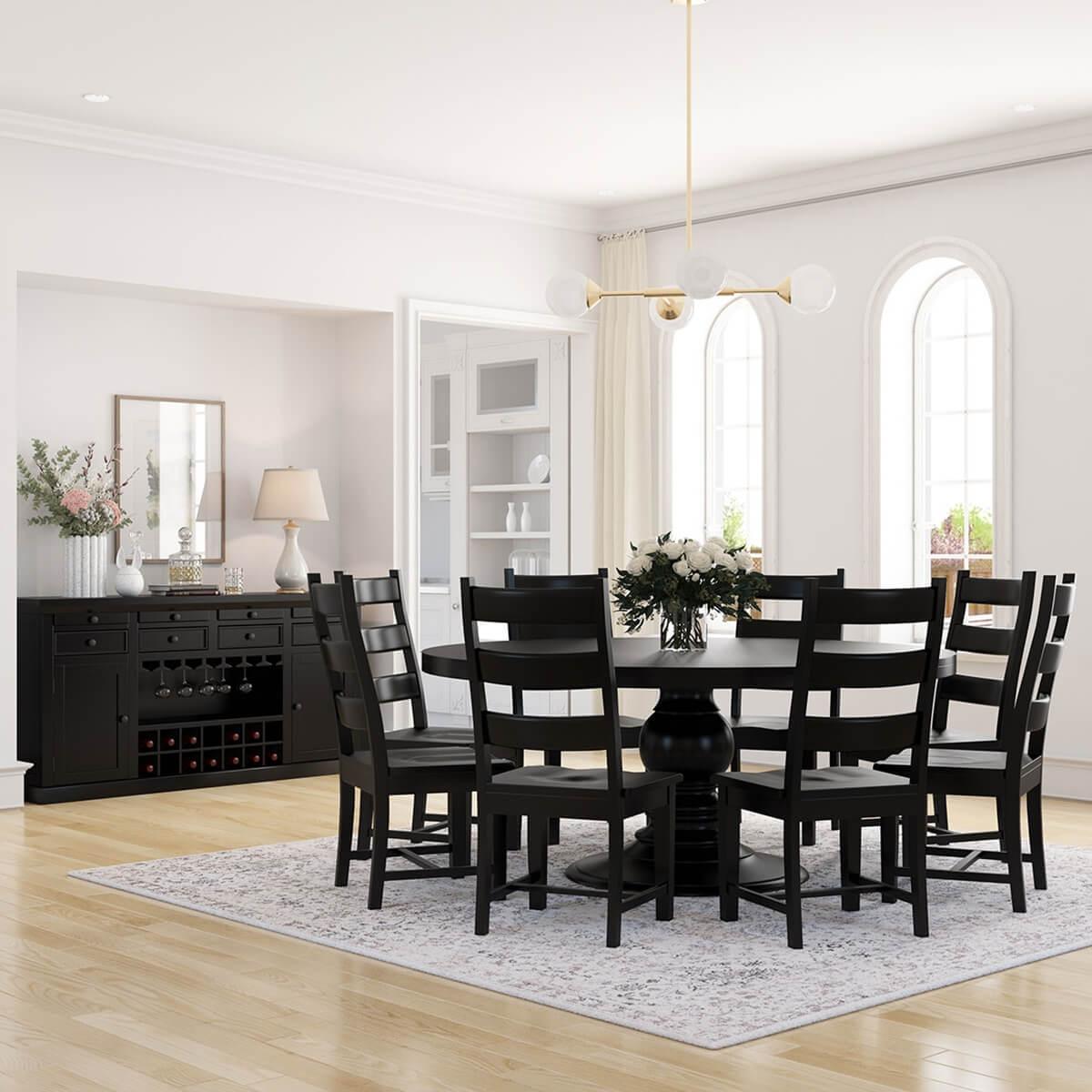 Nottingham Black Solid Wood Pedestal Base 10 Piece Dining Room Set