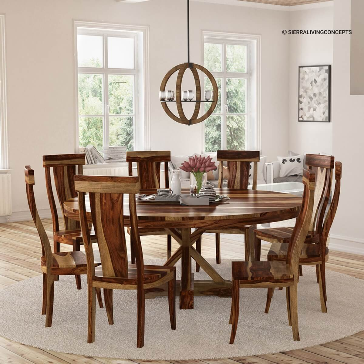 8 Chair Dining Set Bedford X Pedestal Rustic 72