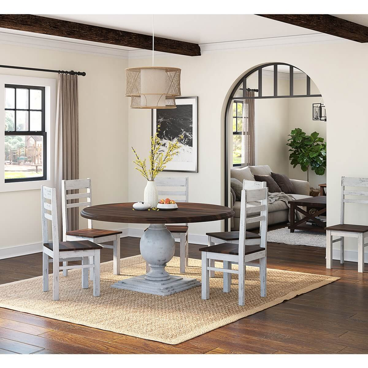 8 Chair Dining Set Illinois Two Tone Large Round 72