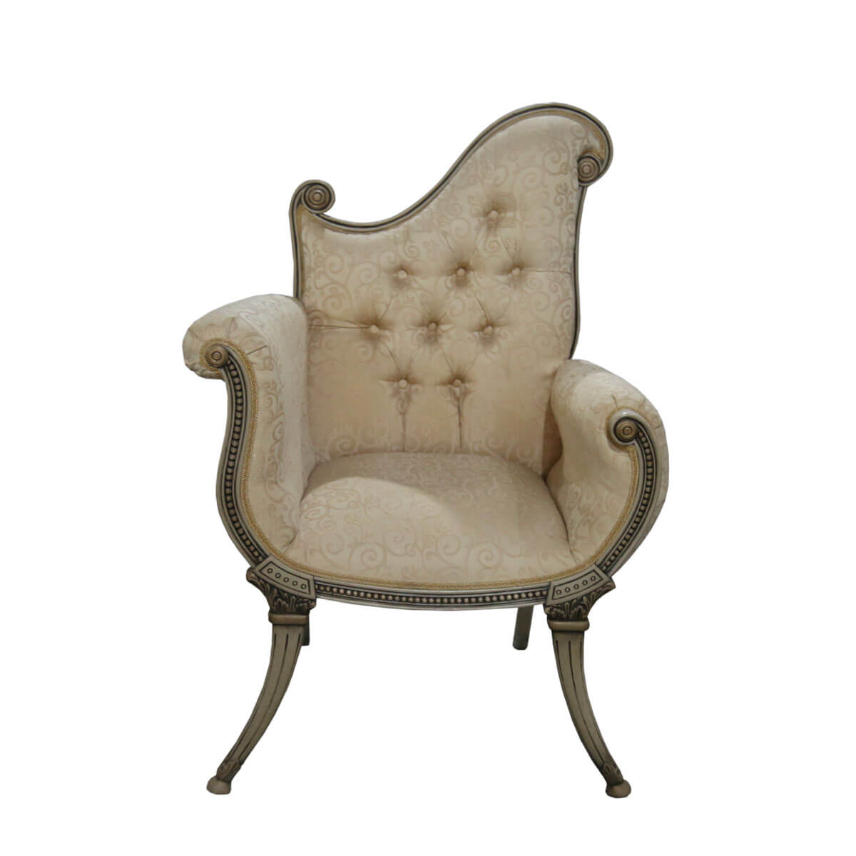 Upholstered Arm Chairs Florence Asymmetrical Traditional Ivory Swirl Upholstered Arm Chair