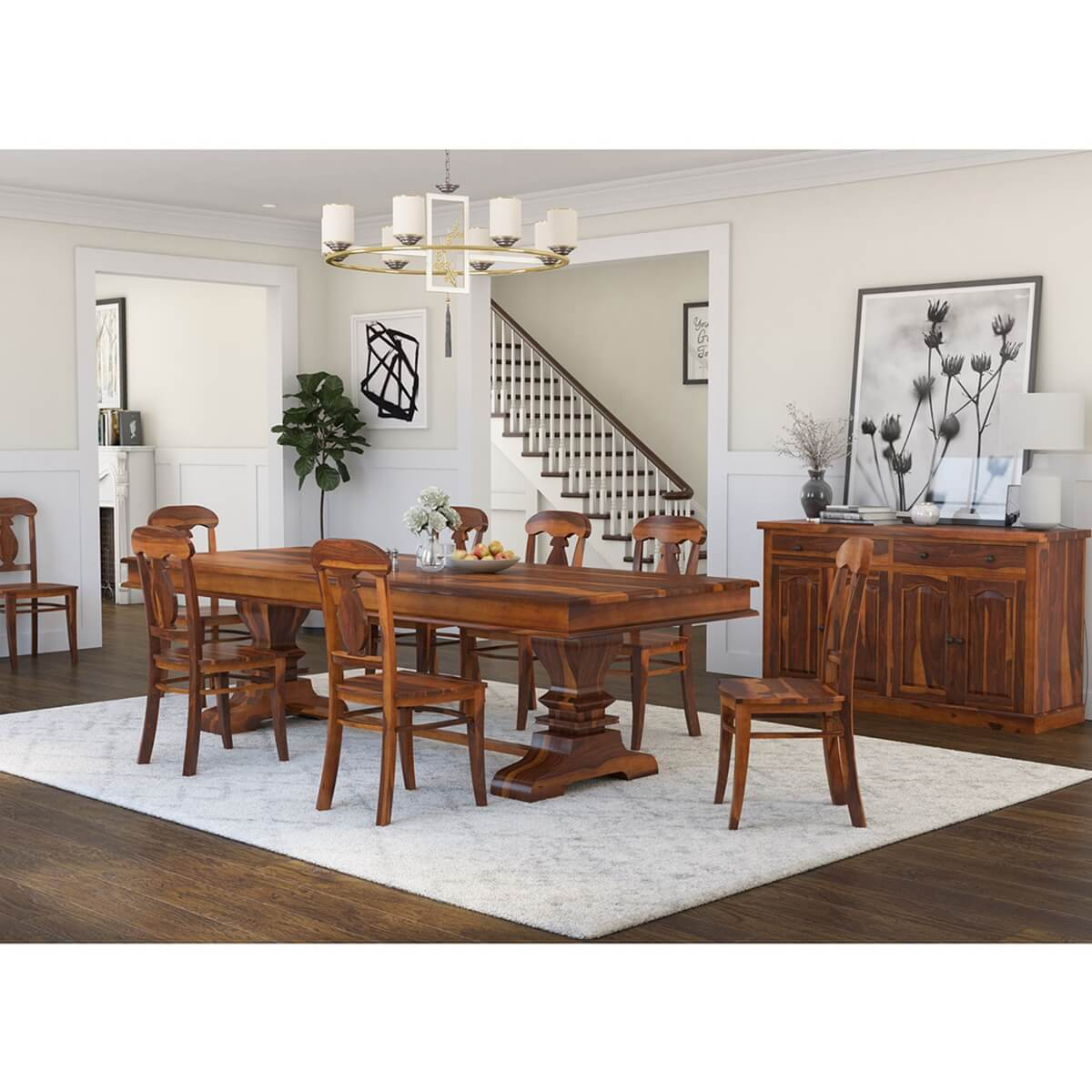 6 piece living room set center table decoration ideas tiraspol traditional rustic solid wood dining hover to zoom