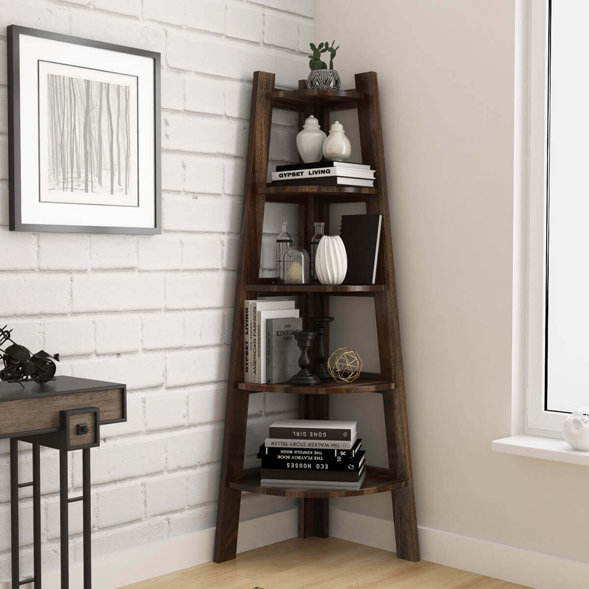 Cameroon Contemporary 5 Shelf Solid Wood Corner Ladder Bookcase