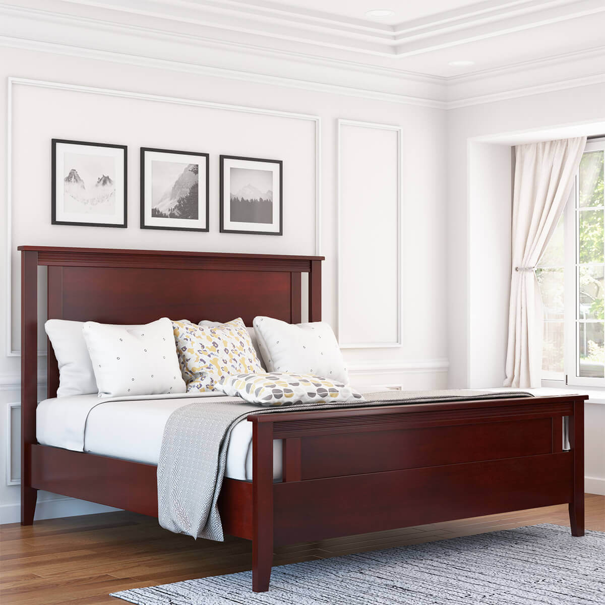 amenia solid mahogany wood platform bed