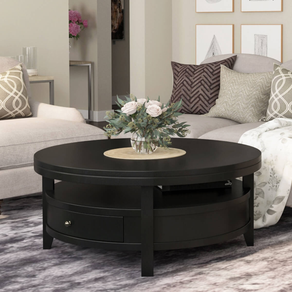 toledo solid wood black modern round coffee table