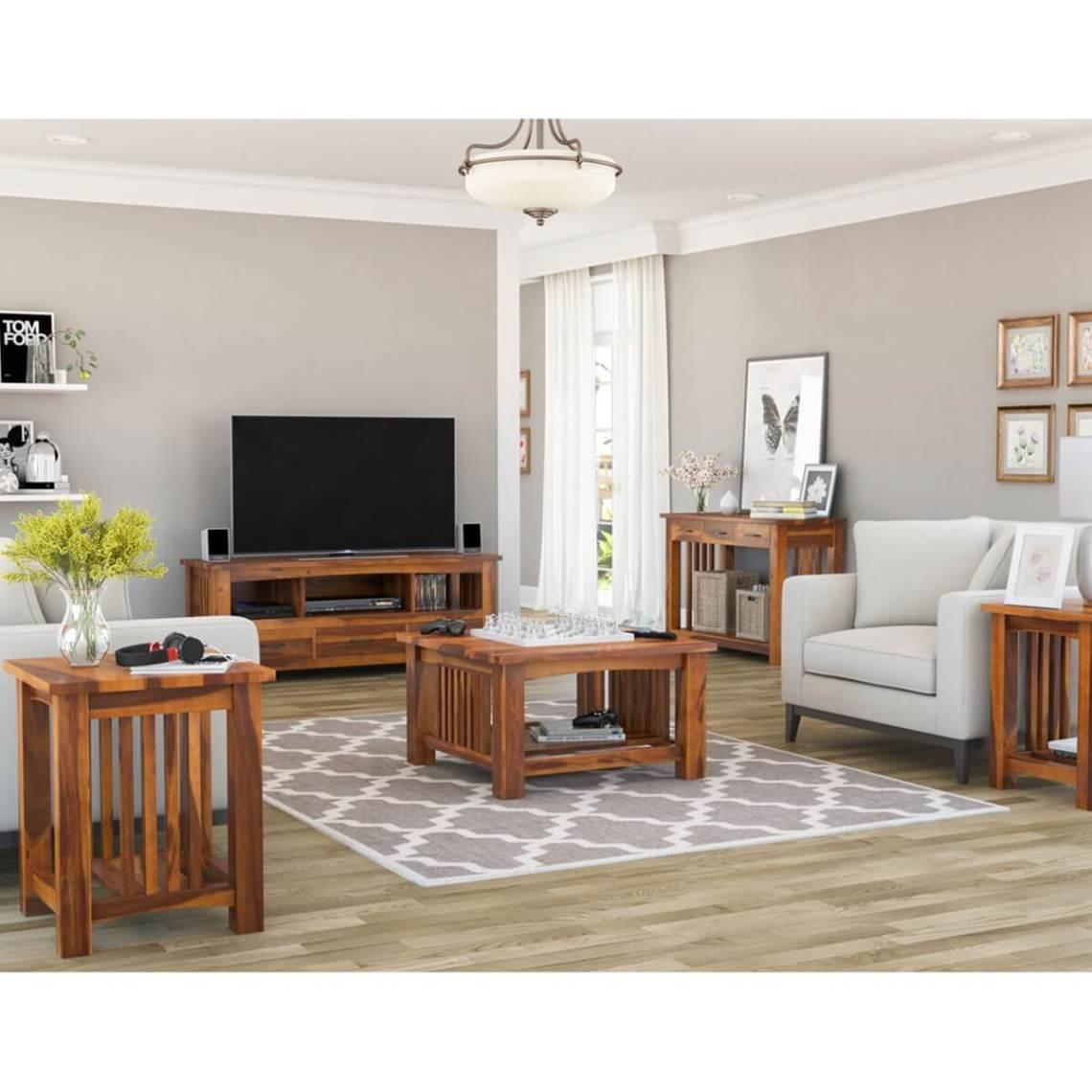 Jeddito Mission Rustic Solid Wood 5 Piece Living Room Set