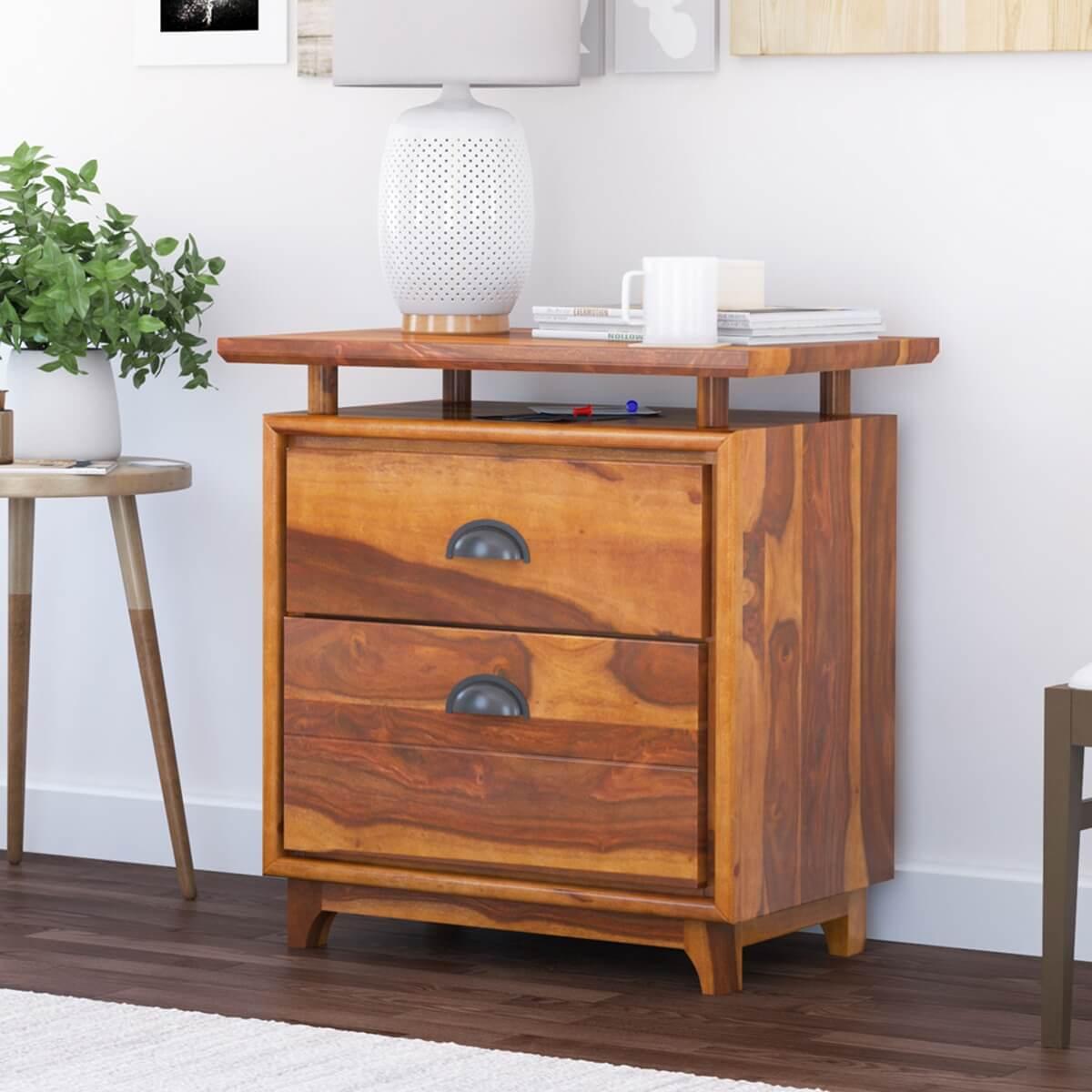 Hondah Rustic Solid Wood 2 Drawer File Cabinet