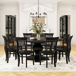 table with chairs plastic chair covers for parties rustic dining and sets sierra living concepts nevada large round solid wood