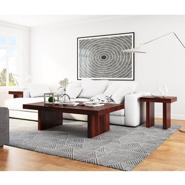 contemporary rustic wood 3 piece large coffee table and end table set