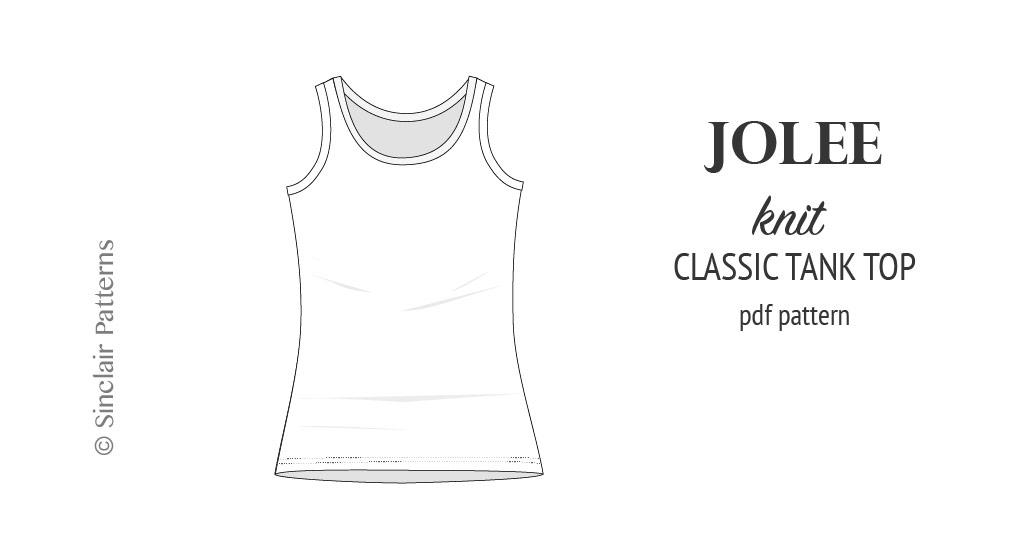 Jolee knit longline tank top sewing pattern (PDF