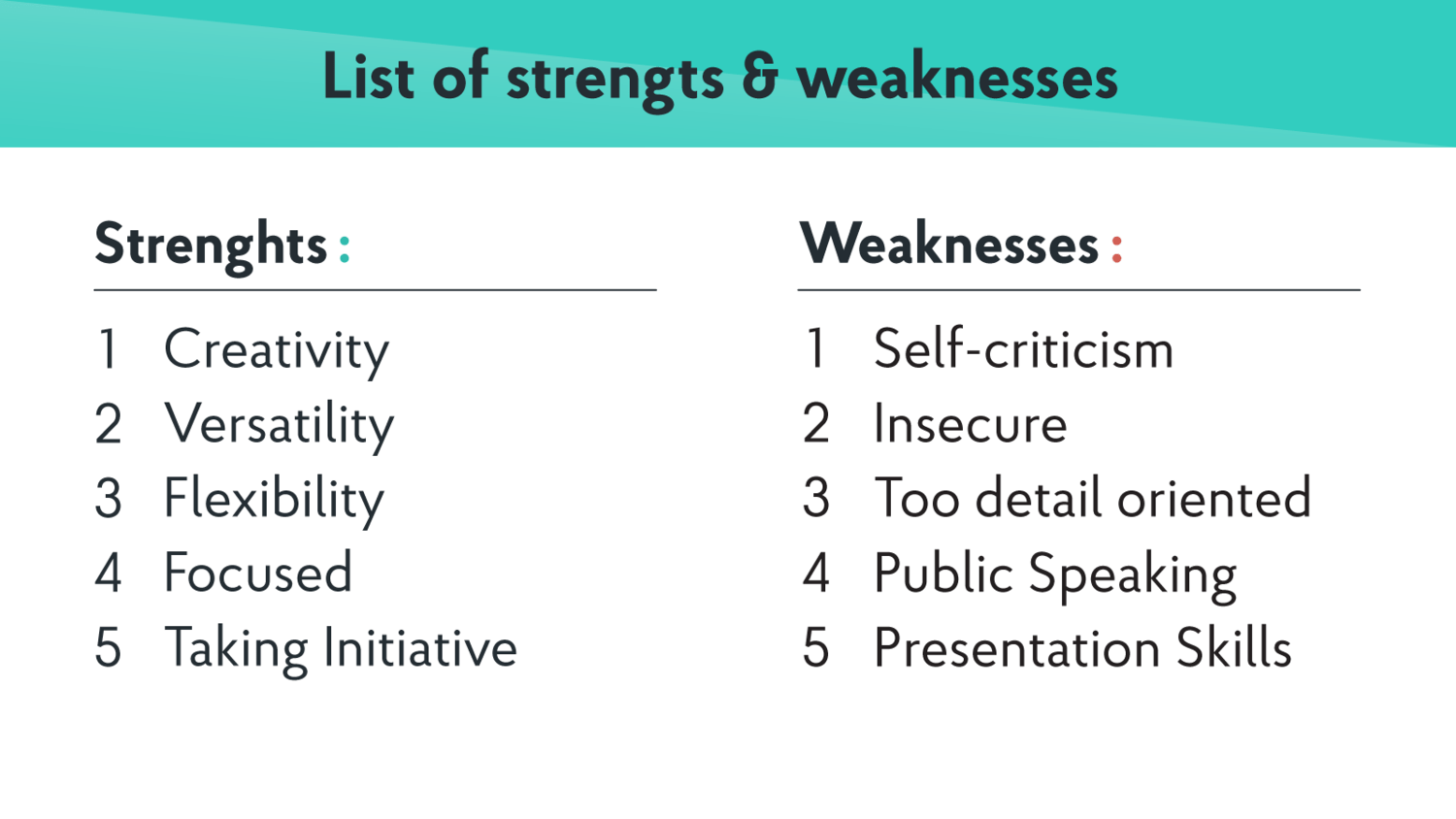 job weakness examples