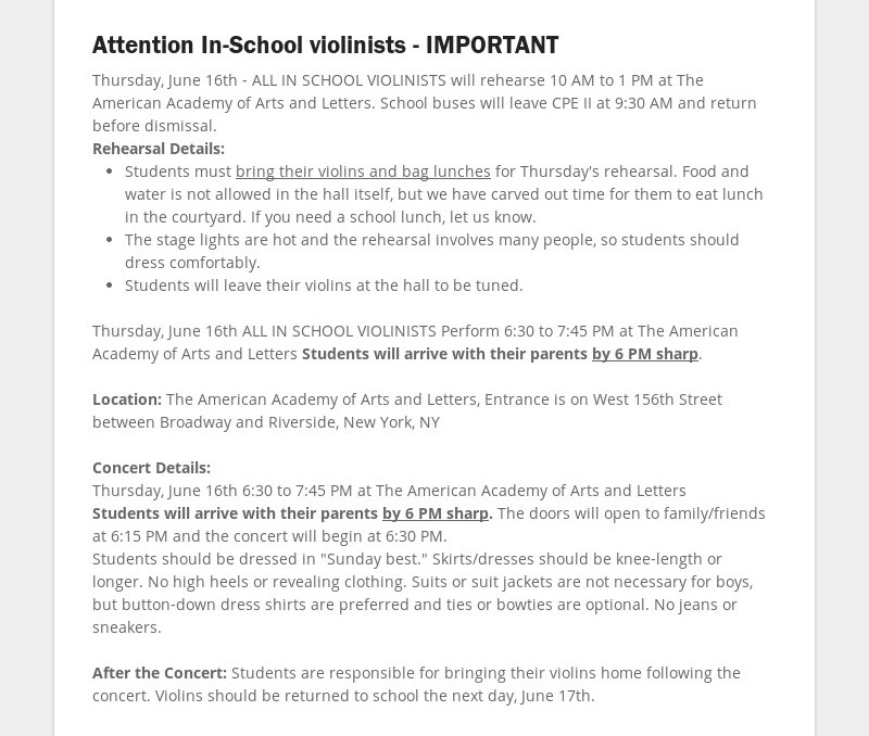 Attention In-School violinists - IMPORTANT Thursday, June 16th - ALL IN SCHOOL VIOLINISTS will...