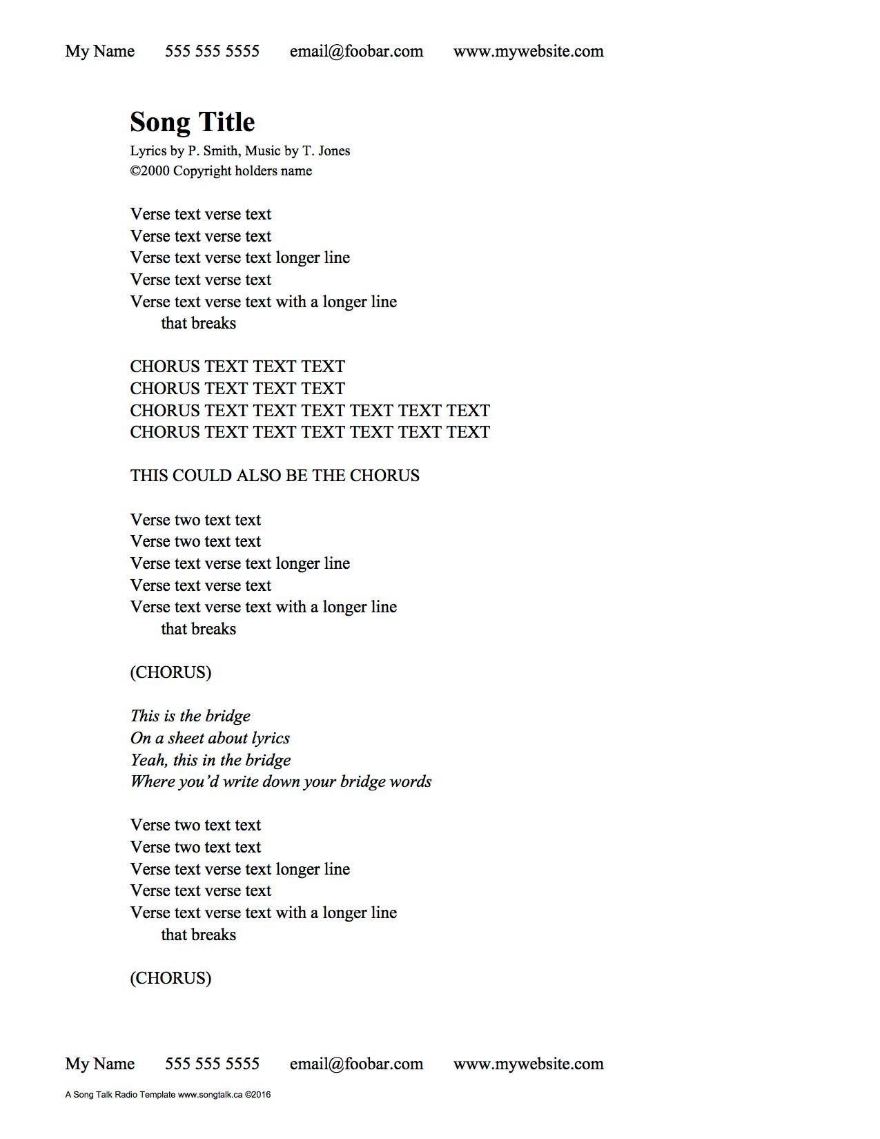Blank Lyric Sheet Template