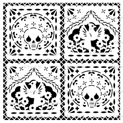 Papel Picado white on black ground fabric