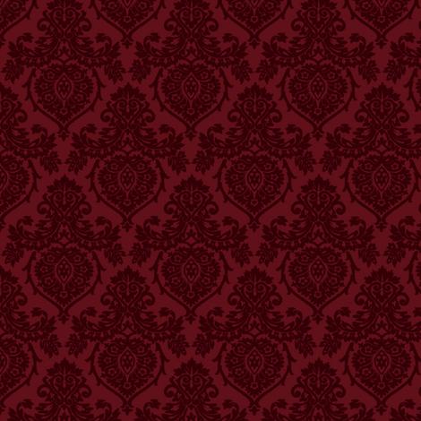 Prancer Ornamental Damask Small Red fabric  kamiekazee