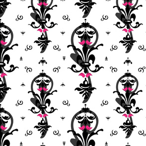 Tiffany Blue Lovebirds Heart Damask fabric