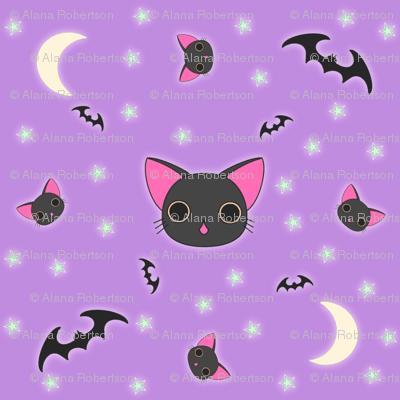 Creepy Fall Wallpaper Kawaii Kitty N Bats Fabric Eerie Doll Spoonflower