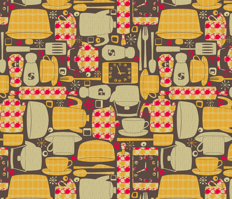 Retro Kitchen fabric  leighr  Spoonflower
