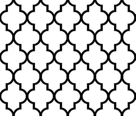 Classic White and Black Quatrefoil fabric