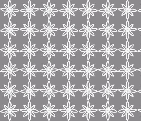 Simple Flower Pattern in Grey and White fabric