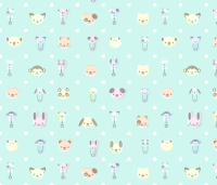 Vintage Baby Animal - Mint wallpaper - saecarr - Spoonflower