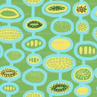 Mid Century Flowers Blue Green fabric - vinpauld - Spoonflower