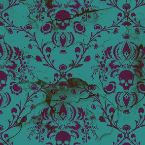 Black Skull Damask Wallpaper Fuschia Purple Teal Be Fabric Wallpaper Amp Gift Wrap