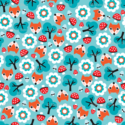 Kawaii Fall Wallpaper Baby Fox Fall Pattern Cute Tossed Woodland Design For Fall