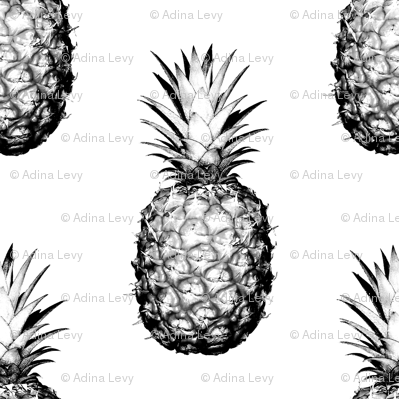 Pineapples black and white large fabric