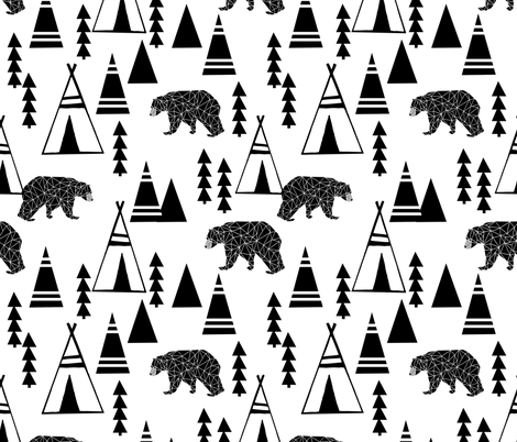 tipi forest // teepee bear forest geometric southwest