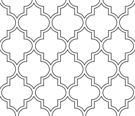 Moroccan Outline Quatrefoil in Black fabric