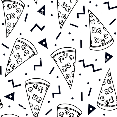 pizza party // black and white pizza party shapes rad 90s