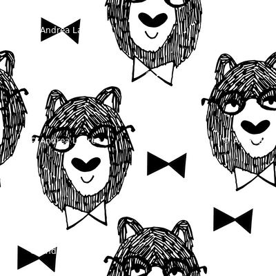 bowtie bear // black and white bear fabric andrea lauren
