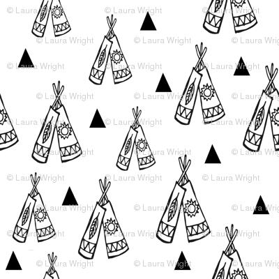 Native american tee pee black and white fabric
