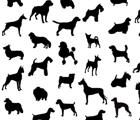 Mod-Dog Silhouettes Black on White Large Scale fabric