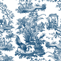 Chinoiserie Toile ~ Lonely Angel Blue and White fabric ...