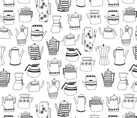 coffee pots // teapot coffee black and white hand-drawn
