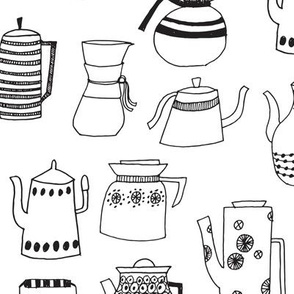 coffee pots // teapot coffee black and white hand-drawn
