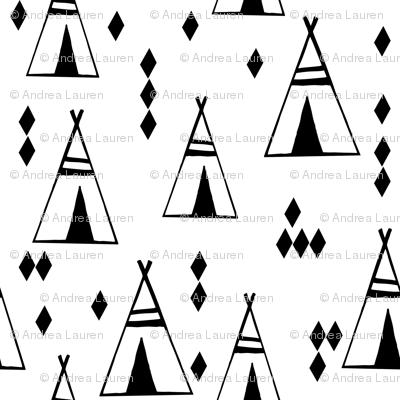 teepee // black and white tiny mini nursery print fabric