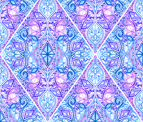 Cute Wallpapers With 0424 On It Diamond Doodle In Purple Blue And White Fabric Micklyn